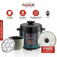 MMX Ewant Pressure Cooker Marble Pot Rice Cooker with Rendang Function - Green 9-in-1 (6.0L)