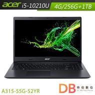 ACER 宏碁 Aspire 3  A315-55G-52YR 15.6吋 筆電 i5/4G/256G+1TB  黑