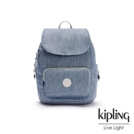 【KIPLING】淺色丹寧藍翻蓋拉鍊後背包-SMALL BACKPACK