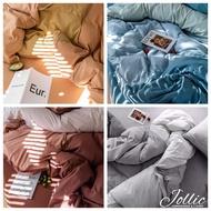 Jollic♡ 100%純棉 拼色床包四件組 多色拼色床包組 雙人床包/加大床包 針織棉天竺棉 無印良品 灰色黑色床包組