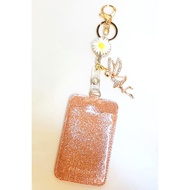 Sunflower and Fairy Charm With Rose Gold Glitter Ezlink Cardholder Set