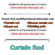 Retractable Curtain Rod Punch-free Stainless Steel Curtain Rod Clothes Rod Shower/Door Curtain Rod