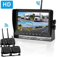 HD Digital Wireless 4 Backup Camera 7'' Monitor Kit Split Screen for Trailers,RVs,Trucks,Campers,5th Wheels Highway Monitoring System IP69K Waterproof Super Night Vision Driving/Reversing Use