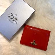 Vivienne Westwood 紅色漆皮logo卡夾