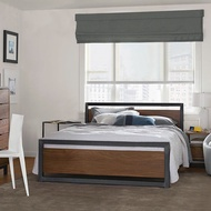 〈〉 LOFT工業風實木飾板鐵床架/歐式復古木飾鐵管床架/法式古典鐵藝床架/5尺6尺雙人床/3尺半單人床