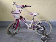 捷安特女童粉紅16吋附輔助輪腳踏車(適合90至115公分小孩)