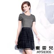 【蜜雪兒mysheros】時尚條紋鏤空網格洋裝(黑)