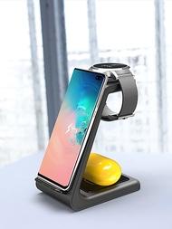 3 In 1 Wireless Charger สำหรับ IPhone 11/X Apple นาฬิกา Airpods Pro ไร้สายแท่นชาร์จสำหรับ Samsung S10 นาฬิกา Samsung Galaxy Buds