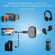 Bluetooth 5.0 Audio Transmitter Adapter APTX Low Latency for Nintendo Switch PS4 TV PC USB/Type C Wireless Transmitter
