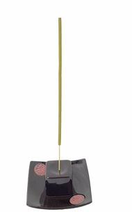Zen Square incense holder w/ oriental plate - black
