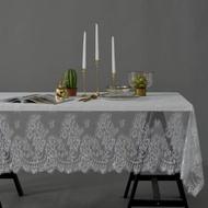 美式鄉村風蕾絲花邊桌巾茶几餐桌墊蓋布145*180cm6人桌白色