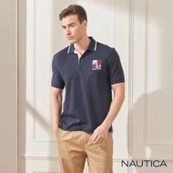 Nautica純棉簡約刺繡短袖POLO衫-深藍