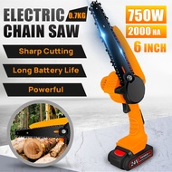 6' Electric Chain Chainsaw Mini Pruning Portable Battery Powered Cordless Saw Saw
