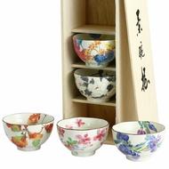 《富樂雅居》日本製 美濃燒 和藍 花之心 花之物語 飯碗揃 飯碗組 ( 五個入 / 附木箱 ) 03642