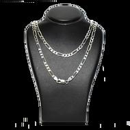 18KWG Figaro 3+1 Main Chain สร้อยคอทองคำขาวแท้ ITALY 18K White Gold รุ่น ฟิกาโร่ 3+1