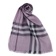 BURBERRY 經典大格紋羊毛絲綢披肩/圍巾(紫格)