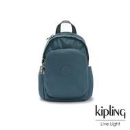 【KIPLING】山林湖茵綠拉鍊式小巧收納後背包-DELIA MINI
