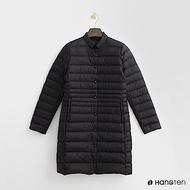 Hang Ten - 女裝 -小立領長板修身羽絨外套-黑