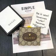 ㊣KK SHOP㊣ Gucci Supreme黃銅虎頭短夾