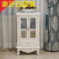 歐式客廳小酒櫃矮帶玻璃門家用裝飾櫃實木帶抽屜簡約整裝