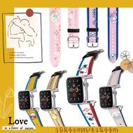 【Hong Man】三麗鷗 系列 Apple Watch 皮革錶帶 大耳狗_銀 42-44mm