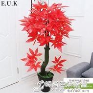 仿真植物盆栽鴻運當頭室內裝飾假花防真花客廳擺件大紅楓樹假盆景 WD