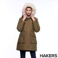 【HAKERS 哈克士】女款 三合一防水羽絨外套(軍綠色)