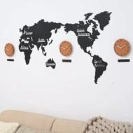 設計師推薦款❤️質感世界地圖牆壁擺飾❤️掛鐘世界地圖創意北歐DIY客廳3d大尺寸實木質壁裝飾牆貼鐘錶掛鐘
