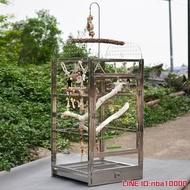鸚鵡籠不銹鋼鳥籠鸚鵡站架豪華鳥籠金屬籠鸚鵡繁殖籠觀賞籠折衷灰鸚鵡籠