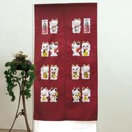 【招財貓】日式印花長門簾-紅色(85x150cm)