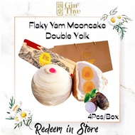 [Gin Thye Digital] 4Pcs Double Yolk TEOCHEW Flaky Yam Mooncake 双黄芋泥月饼 [Redeem in store] Takeaway