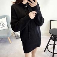 【BBHONEY】韓版純色中長款百搭連帽套頭針織連身裙(拼接帽T)