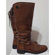 二手鞋 義大利 bussola 真皮 棕色 綁帶 長靴 膝靴 騎士靴  (附鞋盒)