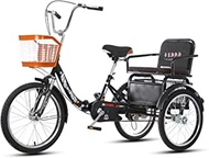 Adult Tricycle Trike Bike Bicycle With Shopping Basket And Backrest Seat Foldable Tricycle For Picnic Shopping Work Men And Women