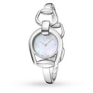 Gucci 古吉 YA139506 真鑽經典馬銜手環時尚腕錶 /白貝面 28mm