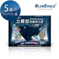 【愛挖寶】藍鷹牌 NP-3DBD*5 台灣製 成人立體型防塵口罩 五層防護 抗UV款 深海藍 50片*5盒