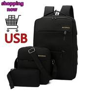 SHOPPING NOW Multifunction USB charging (three-piece) แฟชั่นกระเป๋าสะพายชายเยาวชนกระเป๋าเป้สะพายหลังกระเป๋านักเรียน กระเป๋าเดินทาง แบคแพ็ค Back pack กระเป๋าสะพายพาดลำตัว กระเป๋าเป unisex