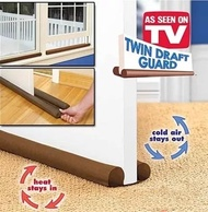 ★ Twin Door Draft Dodger Guard Stopper Energy Saving Doorstop Blocking Dust Wind Aircon Cool Strip ★ Insulate Windows Doors ★ provide air leak protection ★Hot Sale Brown Twin Dual Draught Excluder