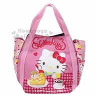 〔小禮堂〕Hello Kitty 帆布托特包手提包《紅粉.吃鬆餅》手提袋.外出袋.便當袋