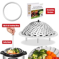 [Ip Bundle] Vegetable Steamer Basket For Instant Pot Accessories - 100% Stainless Steel Folding Steamer Insert With Sealing Ring For 6Qt Instant Pot / Safety Hook / 42 Healthy Recipes - intl