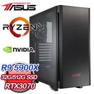 華碩系列【風雷神擊】AMD R9 5900X十二核 RTX3070 電競電腦(32G/512G SSD)