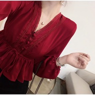 【明日之子】chic早秋新款V領蕾絲拼接抽繩系帶收腰荷葉邊短款襯衫女垂感上衣