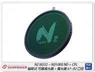 【領券現折,指定銀行10%回饋】 Sunpower N2 ND32~ND1000 ND+CPL 磁吸式 可調減光鏡+偏光鏡 67-82mm(公司貨)