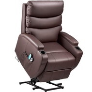 Kealive Lift Chair for Elderly Power Lift Recliner Chair with Massage and Heat Comfortable PU Leather Chair Sofa, Over Stuffed Backrest Chair with Remote Control, Side Pocket and Cup Holders, Brown