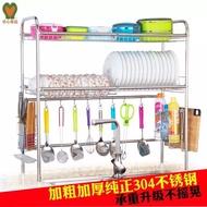304不銹鋼水槽碗架瀝水架廚房置物架用品碗碟單槽單層雙層 跨海大橋 瀝水架 圓管