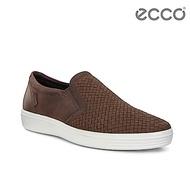 ECCO SOFT 7 M 編織透氣套入式休閒鞋 男-褐