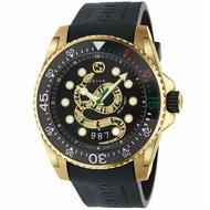 Gucci 古吉 YA136219  Gucci Dive系列 蛇刻紋運動腕錶 / 黑面 45mm
