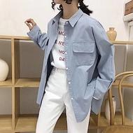 La Belleza素面水洗加厚雙蓋口袋長版襯衫外套
