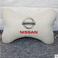 適用於Nissan 日產頭枕 車載棉麻透氣枕頭護頸枕   車用純色抱枕 座椅腰靠枕 汽車座椅頭枕靠墊