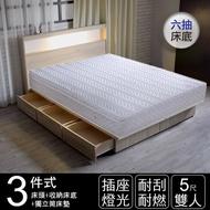 IHouse 山田 日式插座燈光房間三件組(獨立筒床墊+床頭+收納床底)-雙人5尺